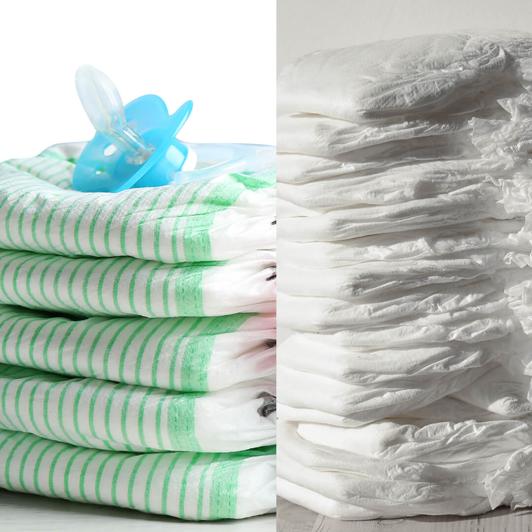 Piles of diapers to choose for newborn baby