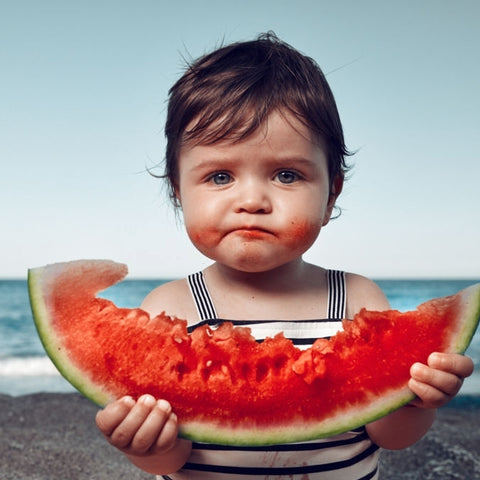 baby eating healthy items