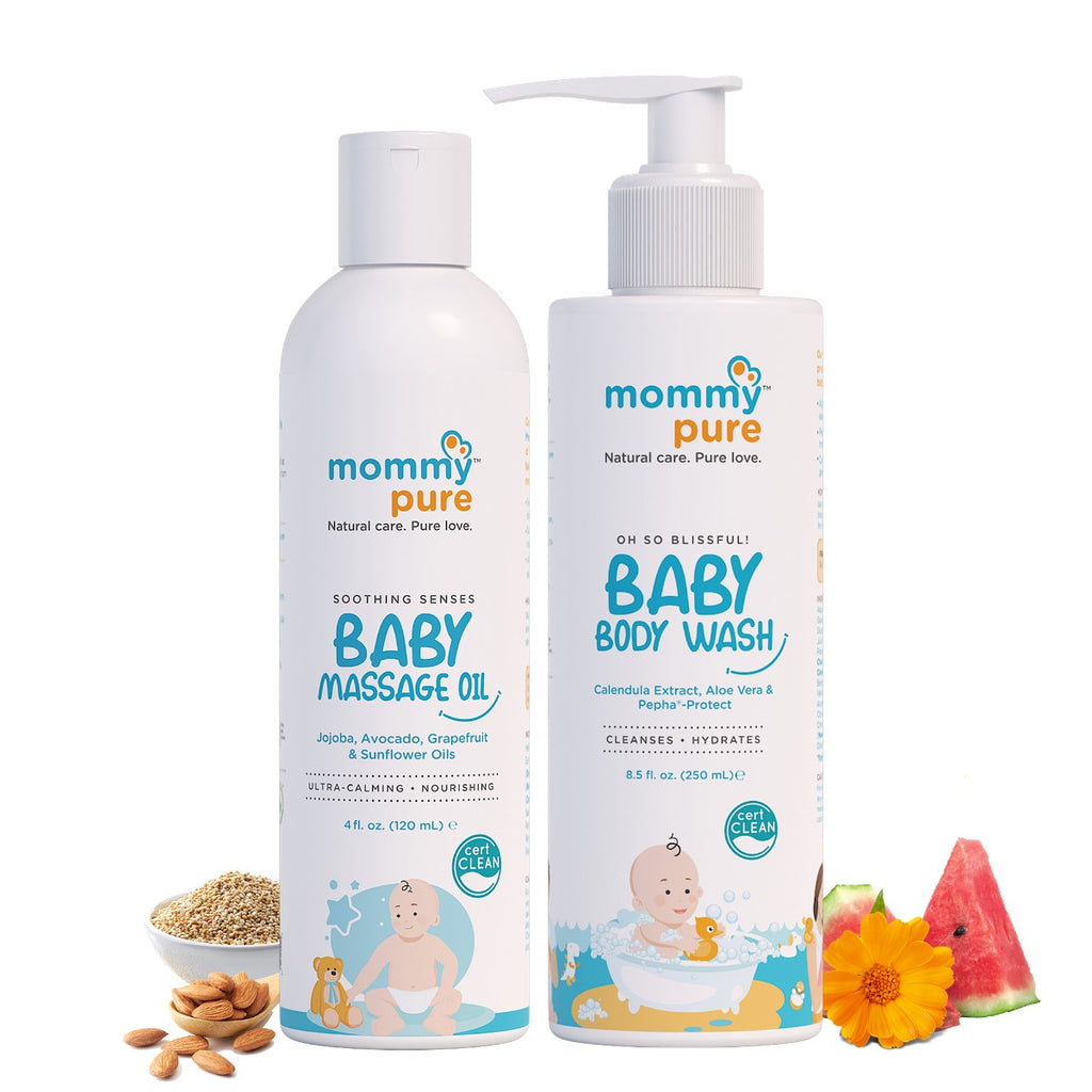 Baby Body Wash 250ml + Massage Oil 120ml Combo