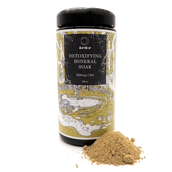 Detox Mineral Bath Soak with CBD. Assist with a good night sleep using all natural herbs by Arder Botanicals