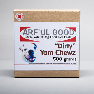 Dehydrated yams with beef liver sprinkles, economy size. Dirty Yams Chewz 500 gr. box