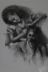 Braiding  - Charcoal on Paper