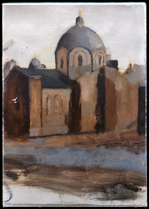 Orthodox Cathedral Edmonton - Study (oil on paper) 40x58cm