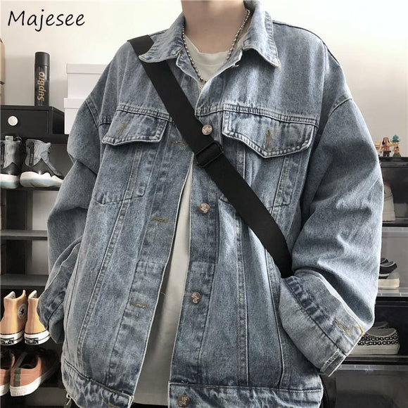 Denim Jacket Men Big Size Vintage Japanese Streetwear Mens Jackets and Coats Single Breasted All Match Ulzzang Males Coat Soft