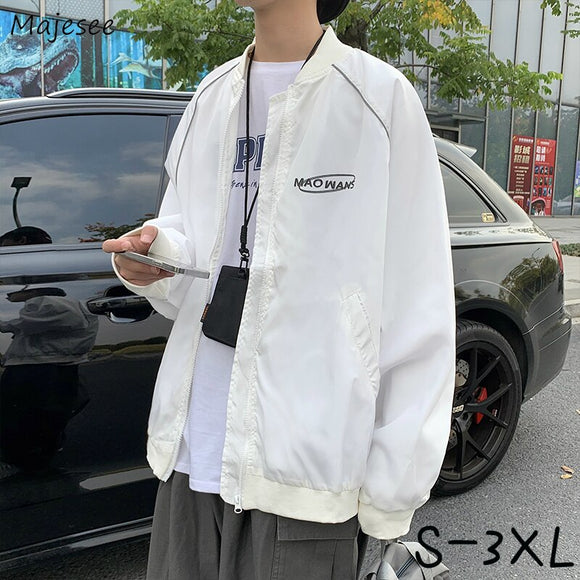 Jackets Men Large Size S-3XL Letter O-neck Zipper Pockets Cargo Male Coats Japanese Style Baggy All-match Harajuku Handsome Chic