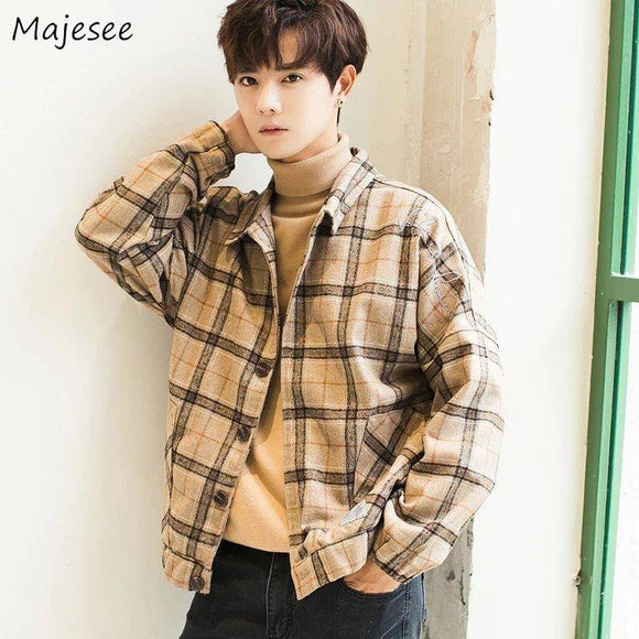 Jacket Men Plaid Plus Size Japanese Streetwear Males All Match Clothes Mens Jackets and Coats High Quality Keep Warm Daily Chic