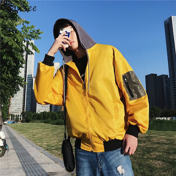 Jackets Men Hooded Letter Printed Loose Pockets All-match Oversize Jacket Mens Korean Style Simple Students High Quality Coats