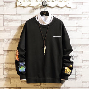 2020 Autumn Spring Black White Tshirt Top Tees Brand Fashion Clothes Plus Size M-5XL O NECK Long Sleeve T Shirt Men'S