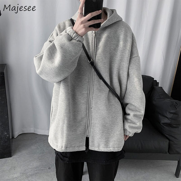 Men Jackets Hooded Solid Zipper Loose Simple Students Kpop Couples 2XL All-match Daily Streetwear Fashion Harajuku Mens Coat New