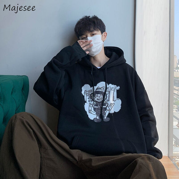 Men with Hat Hoodies Sweatshirts Plus Size 3XL Cartoon Print Lovely Harajuku Males Student Leisure Chic Loose All-match Street