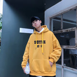 Men with Hat Hoodies Sweatshirts Plus Size 3XL Letter Print Simple All-match Thicken Males Leisure Chic Loose Trendy Outwear New