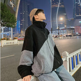 Men Jackets Baggy Patchwork Streetwear Harajuku Thicken Ulzzang Casual All-match Lambswool Ins Winter Warm Plus Velvet Chic Male