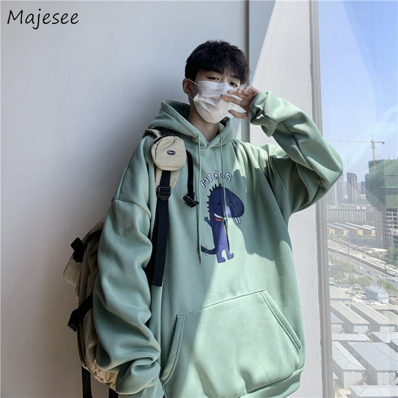 Hoodies Men Thicken Hooded Front-pocket Printed Autumn-winter Korean Loose Harajuku Streetwear All-match Casual Sweatshirts Chic