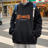 Men with Hat Hoodies Sweatshirts Plus Size 3XL Thicken Letter Print Cool Street Outwear Males Leisure Chic Trendy Loose Fashion