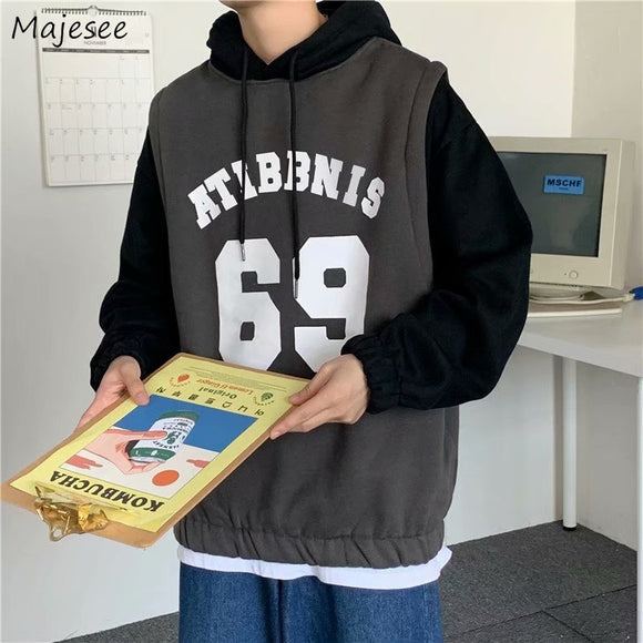 Men with Hat Hoodies Sweatshirts Plus Size 3XL Patchwork Letter Print Mock Two Pieces Trendy Males Leisure Loose Chic Outwear