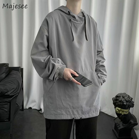 Men with Hat Hoodies Solid All-match Elastic Waist Adjustable Loose Korean Style Chic Ulzzang New Drawstring Male Classic Simple