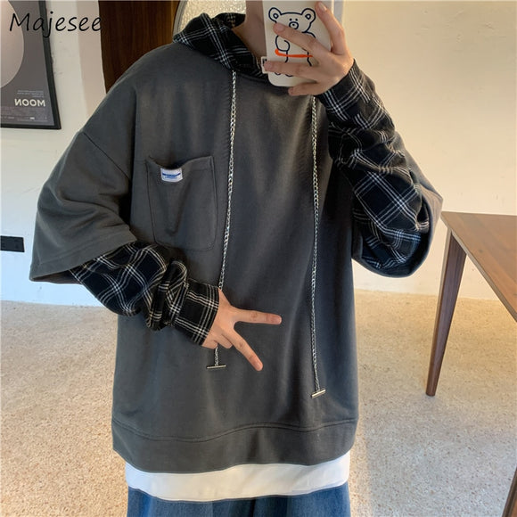 Men with Hat Hoodies Sweatshirt Mock Two Pieces Trendy Patchwork Males Leisure Chic Loose Plaid Korean Style Street Outwear New