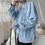 Jackets Men Light Blue Denim Classic Daily Outwear Mens Coat High Quality Pocket Turn-down Collar Harajuku Korean Style Chic New