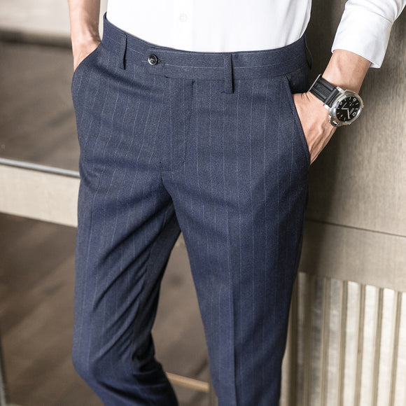 ICPANS Men's Classic Striped Dress Trousers Korean Ankle Length Suit Pants Men Business Fomal Office Trousers For Men