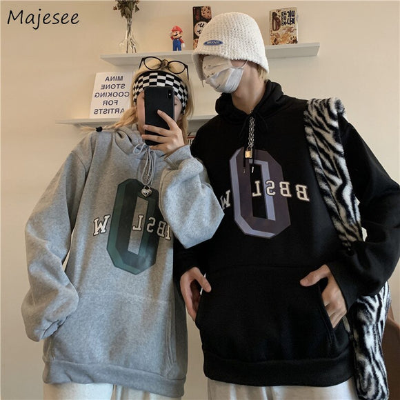 Men with Hat Hoodies Sweatshirts Letter Print Couple All-match Males Loose Trendy Chic Leisure Street Outwear Plus Velvet Thick