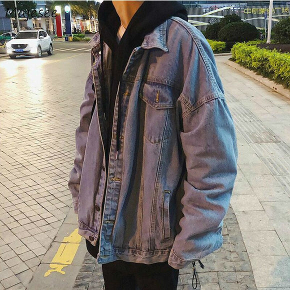 Jackets Men Denim Solid Teens Simple School Casual High Quality All-match Fashion Mens Spring Autumn Coat Pockets Streetwear New