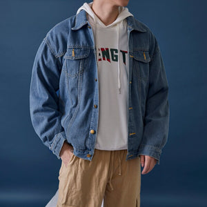 Jackets Men Simple Chic Denim High Quality Large Size Korean Style Harajuku Mens Casual Loose Clothing Streetwear All-match Coat