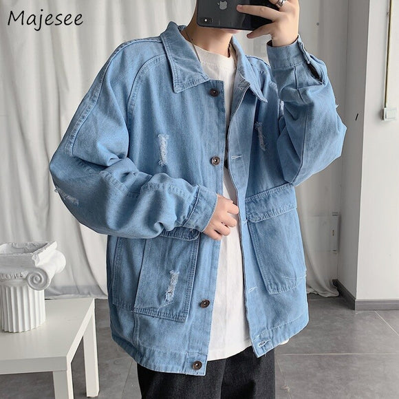 Jacket Men Denim Pockets Plus Size Vintage Mens Jackets and Coats Turn-down Collar Casual Loose Harajuku Clothes Streetwear Chic