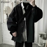 Men Jackets Solid Pockets Turn-down Collar Loose Oversize 3XL Simple All-match Leisure Chic Daily Outwear Mens Harajuku Ulzzang