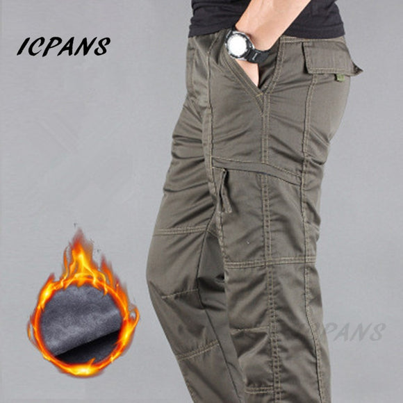 ICPANS Cargo Pants Men Winter Thicken Fleece Multi Pocket Work Pants Men Casual Cotton Military Tactical Pants Men Plus size 3XL