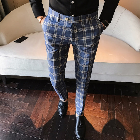 Men Dress Pants Slim Fit Formal Business Plaid Pants Men Pantalon A Carreau Homme Vintage Check Suit Trousers Wedding Pants