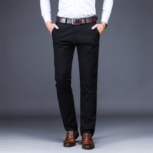 ICPANS Men Casual Pants Length Straight Clasic Black Red Business Men Pants Overalls Office Trousers Mens Plus Size  44 42 40