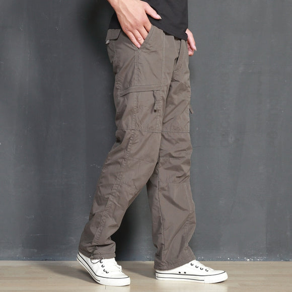 ICPANS  Cargo Pants Men Winter Loose Cotton Fleece Warm Thick Jogger Mens Pants Casual Zipper Army Black Pants For Men Big Size