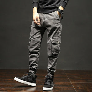 ICPANS Cargo Pants Military Style With Cuffs Pockets Streetwear Cotton Autumn Winter Denim Casual Pants Men Plus Size 40 42