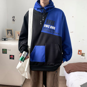 Men with Hat Hoodies Plus Size 5XL Patchwork Casual Chic Loose Korean Fashion Ulzzang All-match Front Pocket Letter Designed