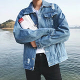 Jackets Men Denim All-match Korean Style Simple Pockets High Quality Trendy All-match Mens Casual Coats Students Large Size 3XL