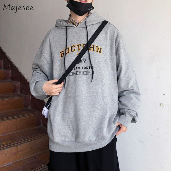 Men with Hat Hoodies Sweatshirts Letter Print Drawstring Harajuku Males Trendy Leisure Loose Chic Street Outwear Autumn Warm New
