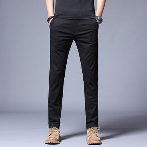 ICPANS Summer Thin Casual Pants Men Pockets with Zipper Black Slim Fit Skinny Mens Trousers Office