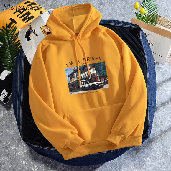 Men with Hat Hoodies Colorful Print Letter Loose Couple All-match Chic Casual Student Korean Style Plus Velvet Ulzzang Male Warm
