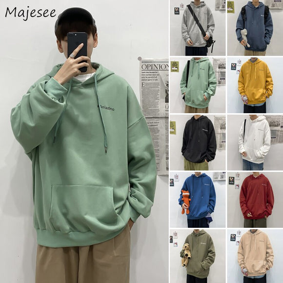 With Hat Hoodies Men Letter Plus-Velvet Thickening 12-colors Front-pocket Autumn Korean-style Casual Loose Mens Pullovers Teens