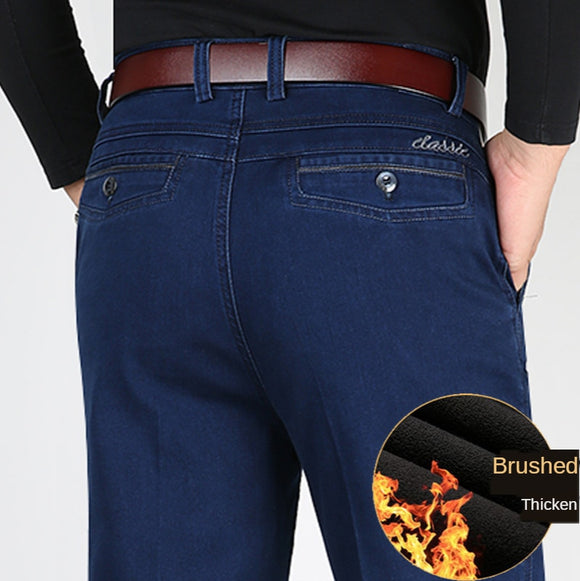 ICPANS Big Size 40 42 44 Winter Men Denim Pants Thicken Warm Fleece Straight Stretch Loose High Waist Trousers Man Classic Pant