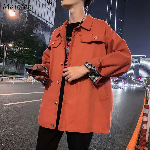 Men Jackets Retro Chic Solid Simple Korean Style Turn-down Collar Mens Trendy all-match Leisure Harajuku New Ulzzang Ins Outwear