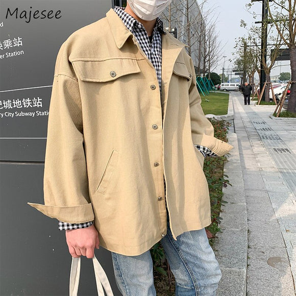 Jacket Men Solid Simple All Match Plus Size Single Breasted Mens Jackets and Coats Streetwear Korean Clothes Hot Sale Black Coat