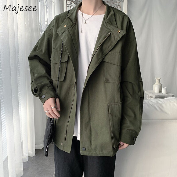 Men Jackets Chic Trendy New Retro Daily Outwear Leisure All-match Student Mens Korean Style Harajuku Simple Turn-down Collar