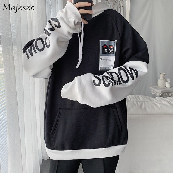 Men with Hat Hoodies Sweatshirts Plus Size 3XL Patchwork Letter Print Trendy Males Leisure Chic Loose All-match Korean Style New