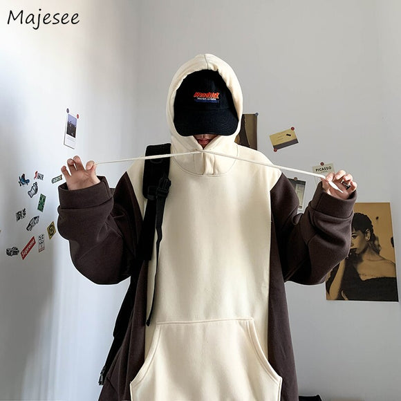 With Hat Hoodies Men Patchwork Panelled Plus Velvet Hong-kong Style Loose Leisure Warm Hoodie Students Autumn-winter New Ulzzang