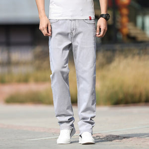 2020 Autumn Straight Loose Casual Denim Pants Men Stretch High Waist Classic Basic Trousers for Man