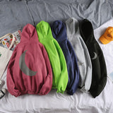Men with Hat Hoodies Reflective Article Casual All-match Loose Male Ins Hip-hop Couples Fashion Ulzzang Streetwear Korean Chic