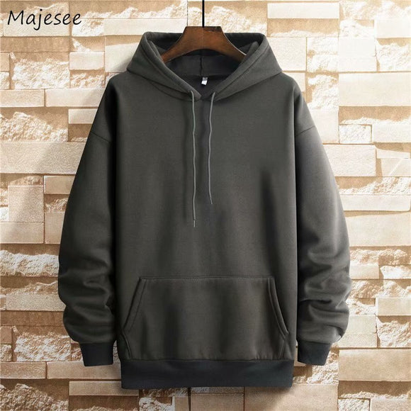 Men with Hat Hoodies Sweatshirts Plus Size 3XL Solid Simple Plus Velvet Thicken Males Leisure Chic Loose All-match Outwear Warm