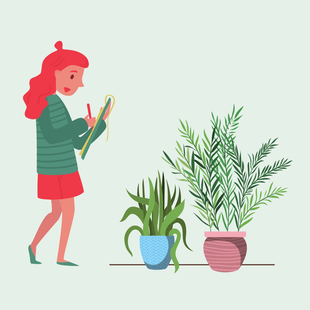 lady checking on plants