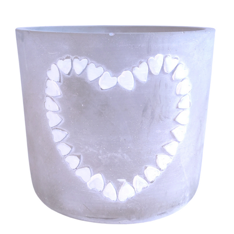 concrete pot with white heart accents 14cm wide